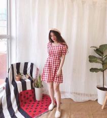 Đầm caro cổ vuông, tay búp xinh xắn, thắt eo nịnh dáng dễ thương