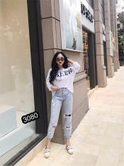 Quần Jeans Nữ Rách Gối Cao Cấp OHS3080