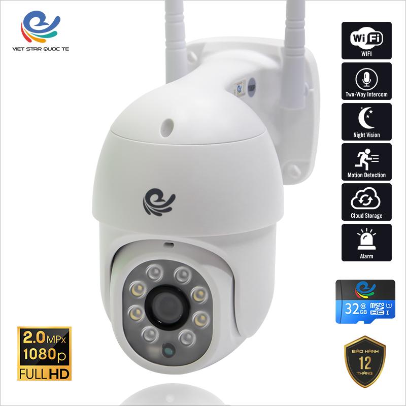 Camera WiFi IP VIET STAR ngoài trời xoay CC8021Pro 2.0MP- Nhận diện khuôn mặt- Ban đêm có màu- bảo hành 12 tháng CC8021PRO