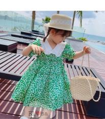 Váy bé gái hoa hồng xanh cổ trắng siêu xinh cho bé từ 1-5 tuổi