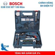 Bộ Máy khoan động lực Máy khoan gia đình Bosch GSB 550 Set 100 món – Bộ máy khoan bán chạy nhất năm 2019