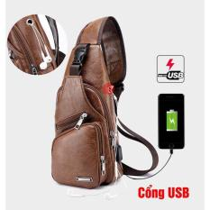 [Free_ship_99k] Túi đeo chéo nam da cao cấp có cổng sạc USB và lỗ tai nghe thời trang Hàn Quốc