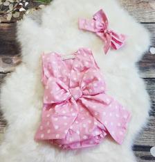 Bộ Body bé gái màu hồng chấm bi thiết kế (kèm nơ)