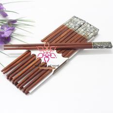 Bộ 10 đôi đũa ăn gỗ Cẩm lai cao cấp đầu khảm trai Mỹ Nghệ (XV)