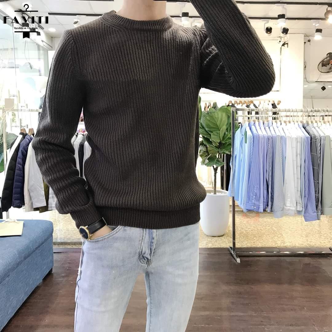 Áo len nam cổ tròn HẠT GẠO FAVITI loại đẹp đủ size 45 đến 80 kg AL69