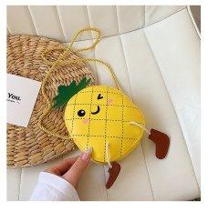 Túi đeo chéo cho bé gái mini ZAKUDO dễ thương, ngộ nghĩnh, thời trang hình QUẢ DỨA da PU phong cách Hàn Quốc TX01