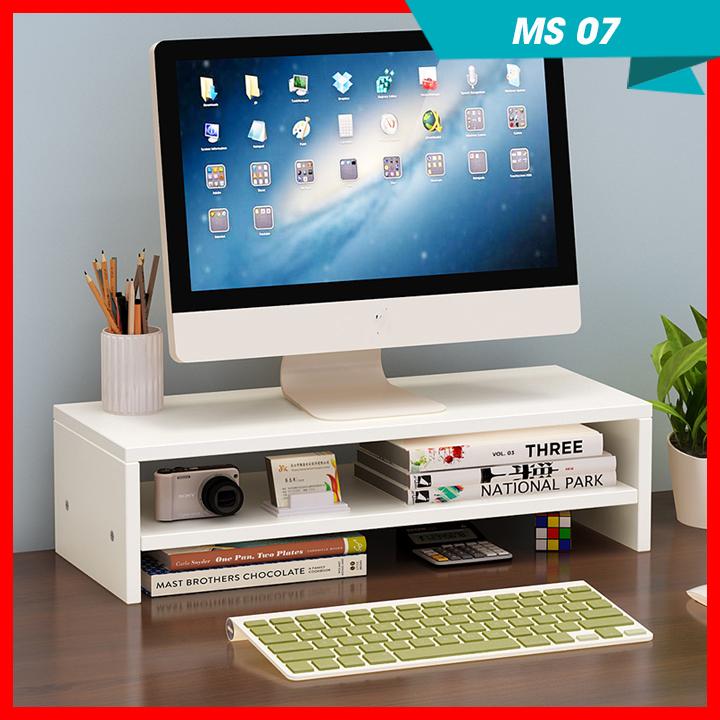 }Kệ gỗ nâng màn hình máy tính MS07