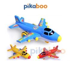 Đồ chơi Máy bay mô hình Pikaboo, chạy đà, 3 màu, có nhạc, chất liệu nhựa dày bóng, an toàn cho bé
