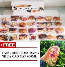 [SET VIP] Set Detox Korea trái cây sấy 45 gói tặng 1 bình Pongdang nhựa cao cấp 600ml, kèm 1 hũ mật ong, 3 gói đường