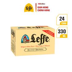 Thùng 24 chai bia Leffe Vàng (330ml/chai) – Vị Vanilla Ngọt Nhẹ Nhập Khẩu Từ Bỉ