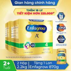 [Quà tặng + FREESHIP TOÀN QUỐC] Bộ 2 hộp sữa bột Enfagrow A+ 4 2.2kg (4 túi thiếc 550g) – Tặng 1 lon Enfagrow A+ 4 870g
