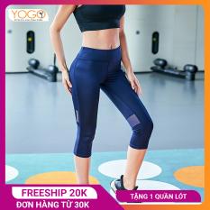Quần tập gym nữ YOGO G025 lửng phối lưới, chất lượng đàn hồi của vải có thể co giãn lên tới 150%, thoải mái vận động mạnh