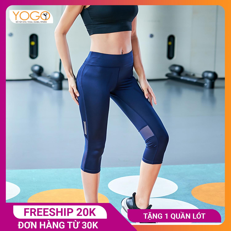 Quần tập gym nữ YOGO G025 lửng phối lưới, chất lượng đàn hồi của vải có thể co giãn lên...