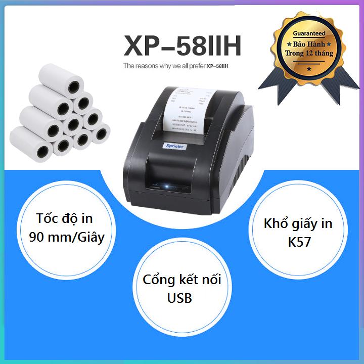 Máy In Hóa Đơn Xprinter 58IIH Khổ Giấy K58 Free 10 Cuộn Giấy In