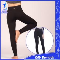Quần tập gym nữ đen trơn thiết kế đơn giản, chất vải mềm mịn, co giãn 4 chiều, thoáng mát
