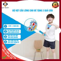 Bộ 2 Vợt cầu lông trẻ em hoạt hình cho trẻ từ 4 tuổi tay cầm đệm cao su chắc chắn tặng 2 quả cầu lông