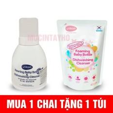 [ Combo Chai + túi ] Nước rửa bình sữa Unimom Hàn Quốc