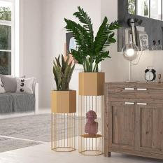 Kệ chậu lưới để chậu hoa, cây cảnh (27cm x 85cm) thiết kế 2 tầng hình lục giác hiện đại trang trí nhà cửa, trang trí phòng khách DH-BK0017