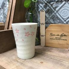 Cốc gốm men nhám họa tiết hoa anh đào nhỏ gốm Nhật