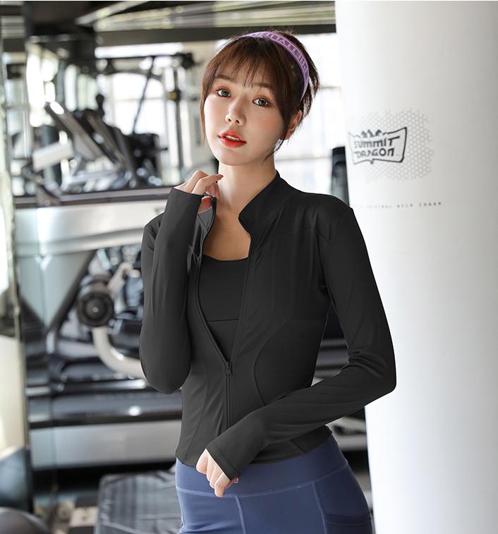 Áo Khoác Thun Tập Gym Yoga Nữ Dài Tay Có Túi Đủ Màu Đen Xám Hồng Xanh Ngọc – Áo Co Giãn Tốt Thoáng Nhiệt Không Phai Màu   Hi Sport