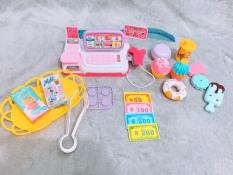 Bộ đồ chơi máy tính tiền siêu thị và bánh ngọt