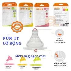 (MẪU MỚI) (Made in Vietnam) 1 – 2 Núm Vú Bình Sữa Cổ Rộng chống đầy hơi (Size S, M, L, +) – Wesser (Công nghệ Hàn Quốc)