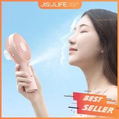 Quạt cầm tay phun sương Jisulife F9 – Màu hồng – Tạo ẩm chăm sóc da mặt 2 in 1 – Sạc nhanh 3 giờ – hoạt động 20 giờ liên tục – bền bỉ không gây tiếng ồn – Bảo hành 12 tháng – Hàng chính hãng