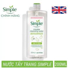 Nước tẩy trang Simple (CHÍNH HÃNG) Kind to Skin Micellar Cleansing Water không chứa cồn Làm Sạch Da Sâu phù hợp mọi loại da (200ml)