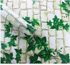 Cuộn 10m decal giấy dán tường gạch sáng dây leo khổ 45cm có sẵn keo dán 4.5 mét vuông, chất liệu PVC không thấm nước