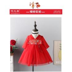 Váy đỏ diện Tết, Noel cho bé gái, thiết kế cố chữ V, chân váy xòe bồng