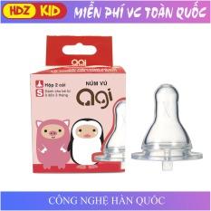 Núm vú bình sữa Agi cổ hẹp size S M L cho bé từ 0-7 tháng trở lên, chất liệu silicon mềm công nghệ Hàn Quốc an toàn cho bé có lỗ chống đầy hơi – HDZ KID