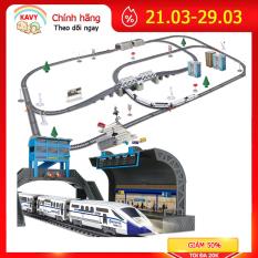 Bộ đồ chơi lắp ráp tàu cao tốc chạy bằng đường ray gồm nhiều chi tiết nhà, hầm, đèn báo hiệu, cầu cạn… KAVY