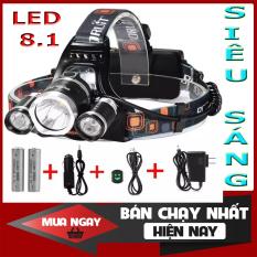Đèn đeo bắt ếch, Đèn bin đội đầu , đèn đi phượt tiện dụng ,Chế độ sáng4 chế độ (1 LED – 2 LED – 3 LED – Chớp) kèm 2 pin sạc và 1 cốc sạc 2020.