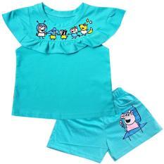 Đồ bộ thun cotton áo bèo ngực cho bé gái 10-23kg