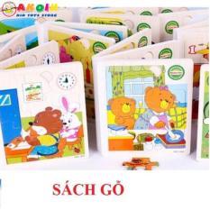 Combo 4 quyển sách gỗ cho bé – hàng loại 1