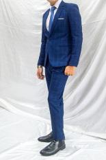 Bộ vest nam ôm body màu xanh đen sọc caro tặng kèm combo phụ kiện