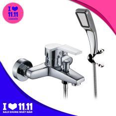 Bộ sen vòi tắm NÓNG LẠNH chất liệu hợp kim mạ crome sáng bóng + Tay sen tăng áp KD-S02 + Gác tay sen + Dây dẫn nước vòi sen + FULL phụ kiện (Trắng sáng)
