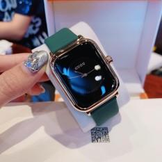 Đồng hồ nữ guou quai silicol mặt chữ nhật siêu hot 2021 bản dây aple donghonu (video ảnh thật)