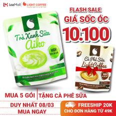 Bột trà xanh hòa tan sữa 3 in 1 Aiko Light Coffee thơm ngon, đặc biệt sử dụng 100% Matcha chính hãng Nhật Bản, không hương liệu – Gói 50g