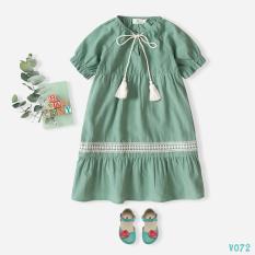 Váy Bé Gái Phối Ren Dáng Xòe Siêu Đáng Yêu Mùa Hè BELLO LAND