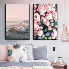 Bộ 2 tranh canvas hoa và biển size 40x60cm kèm Khung Viền 3D Nổi Bật – Khung Hình Phạm Gia PGTK287