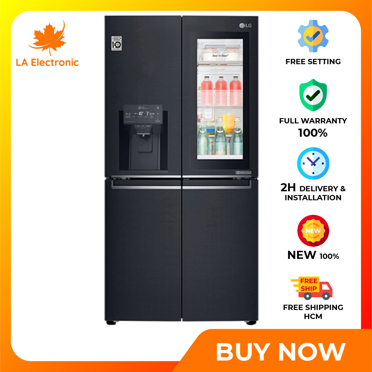 Trả Góp 0% – Tủ Lạnh LG Inverter InstaView Door-in-Door 601 lít GR-X247MC – Miễn phí vận chuyển HCM