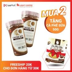 Combo 2 hộp Bột cacao sữa hòa tan 3 in 1 Light Cacao đậm đà thơm ngon,dùng pha uống liền, đặc biệt không hương liệu , không tấm ướp – 90g/hũ