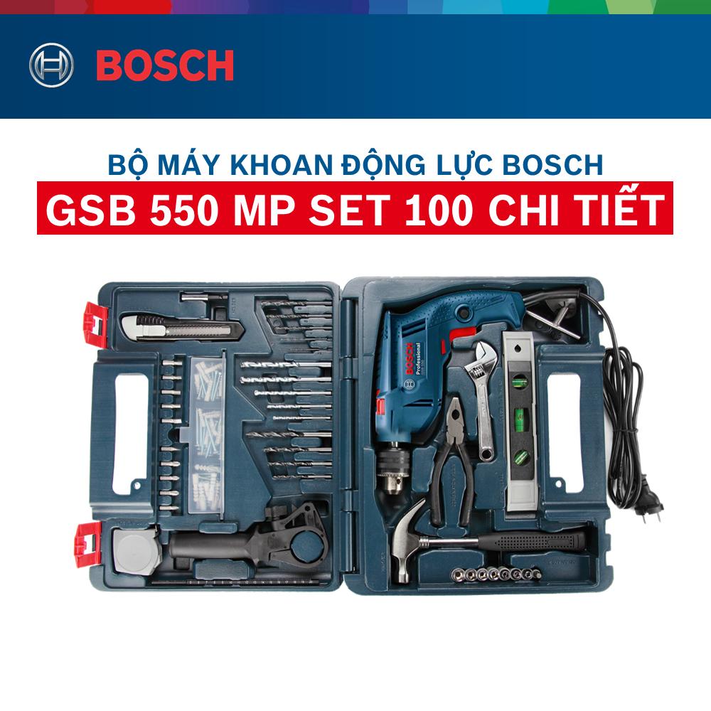 Bộ máy khoan động lực Bosch GSB 550 và bộ dụng cụ 100 chi tiết