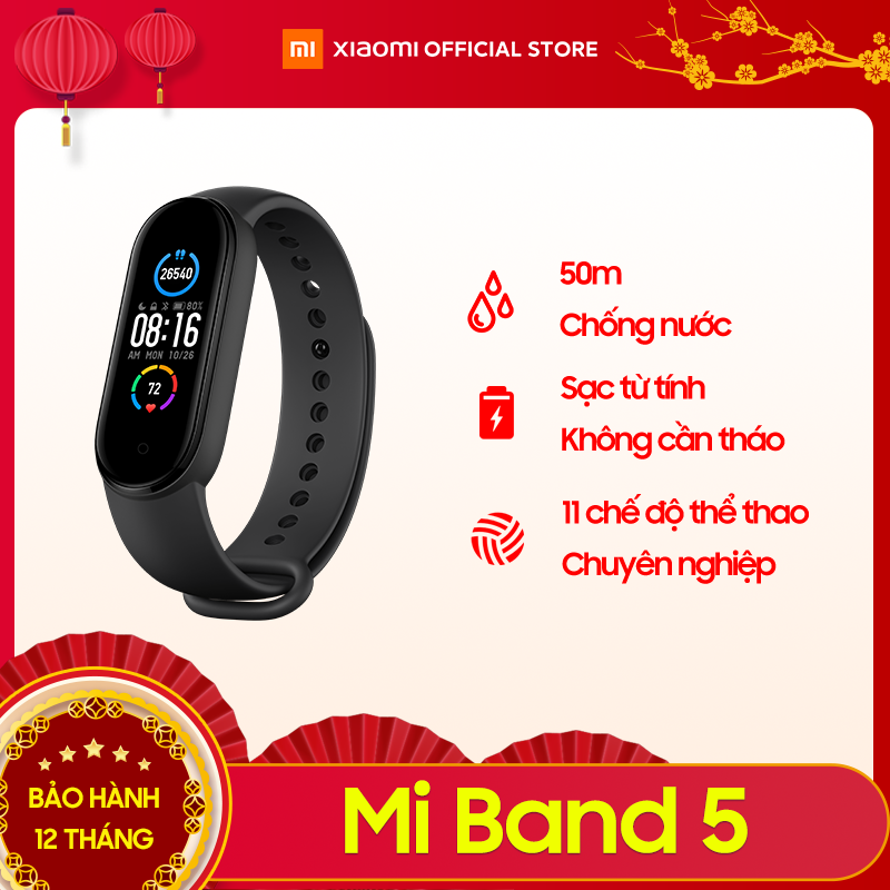 Vòng đeo tay thông minh Xiaomi Mi Band 5 – Màn hình AMOLED 1.1″ Chống nước 5ATM, Theo dõi sức khỏe, kết nối Bluetooth, hỗ trợ tiếng Việt – Hàng chính hãng – Bảo hành 12 tháng