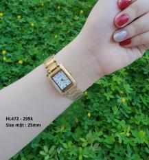 đồng hồ nữ mặt vuông halei ,dây vàng mặt trắng,chống nước,chống xước tốt HLA01122