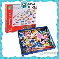 Đồ chơi cho bé Hộp đồ chơi câu cá gỗ gắn nam châm 32 chi tiết Space Kids cho bé vui chơi