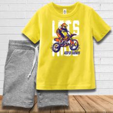 Quần áo bé trai màu vàng thương hiệu TAMOD hình MotorBike rất thể thao