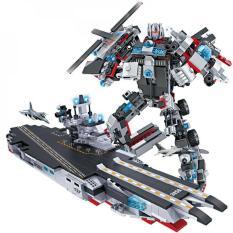 Đồ chơi lắp ráp trẻ em -Tàu chiến MECH và SIEU ROBOT BẢO VỆ TRÁI ĐẤT- LEGO STYLE