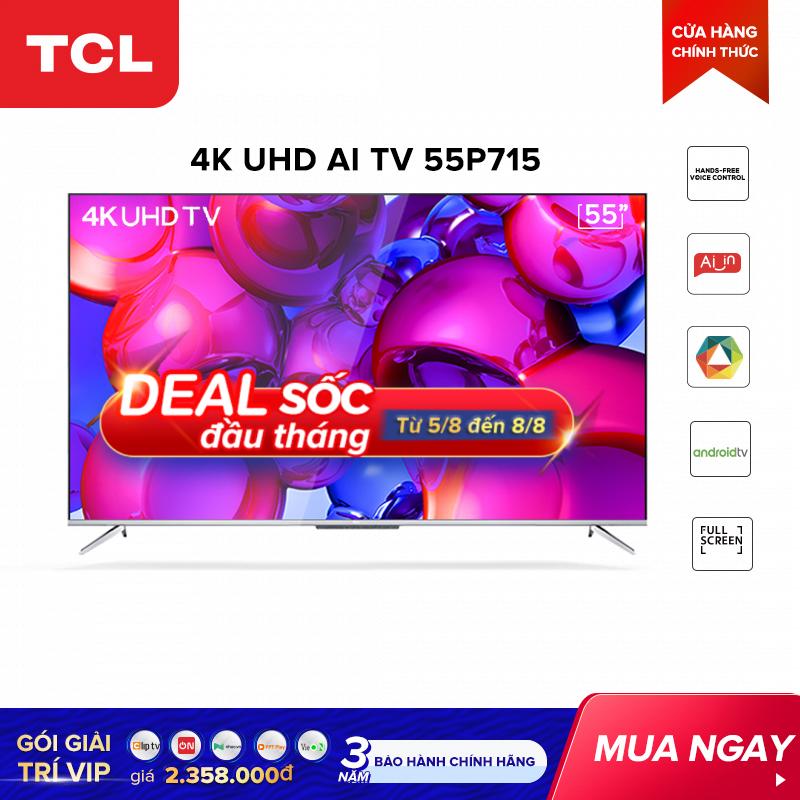 Smart TV TCL Android 55 inch UHD 55P715 – HDR. Micro Dimming, Dolby, Gam màu rộng, Thiết kế toàn màn hình , TCL AI-IN – Tivi giá rẻ chất lượng – Bảo hành 3 năm